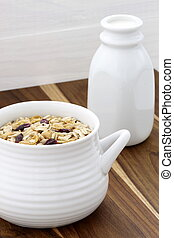 Delicious and healthy muesli with fresh milk - Delicious and...