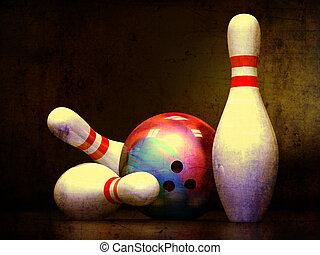 Three Bowling Pins and Bowling Ball - Three Bowling Pins and...