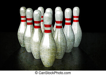Bowling Pins - Ten bowling pins in alignment. Group...