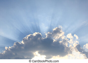 Beams of a sunlight because of clouds - Bright beams of a...