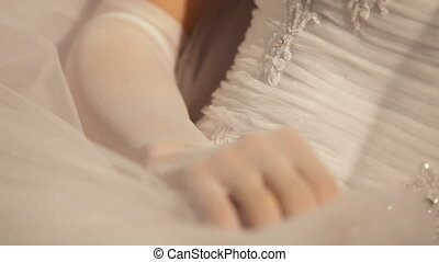 Wedding dress - Bride wearing her wedding dress and white...