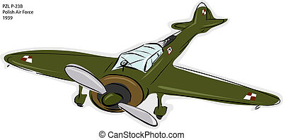 PZL P-23B WW2 Combat Plane - Sketch of PZL P-23B Polish Air...