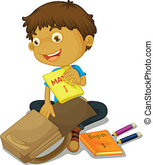 a boy filling schoolbag - illustration of a boy filling up...