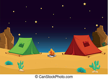 tent house - illustration of a tent house and stars in night...
