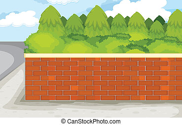 brick wall - illustration of brick wall on nature green...