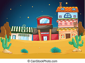 buildings - illustration of a various buildings in night