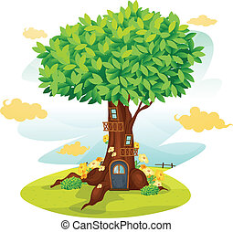 tree house - illustration of a tree house on a blue...