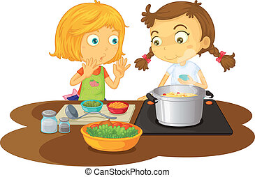a girls cooking food - illustration of a girls cooking food...