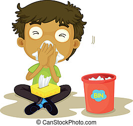 snizzing boy - illustration of a snizzing boy on a white...