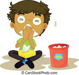 snizzing boy - illustration of a snizzing boy on a white...