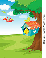 bird house on tree - illustration of birds and bird house on...