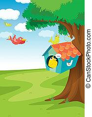 bird house on tree - illustration of birds and bird house on...