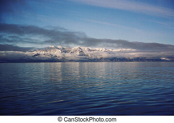 Arctic ice and water - view of Sirmilik National Park from...