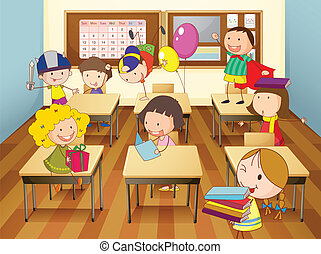 kids in classroom - illustration of a kids studying in...