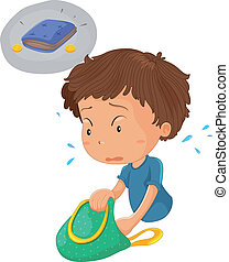 a boy looking for wallet and coin - illustration of a boy...