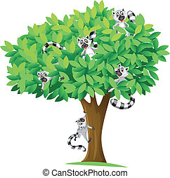 squirrels on tree - illustration of squirrels on tree on...
