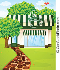 tent coffee shop - illustration of a tent coffee shop in...