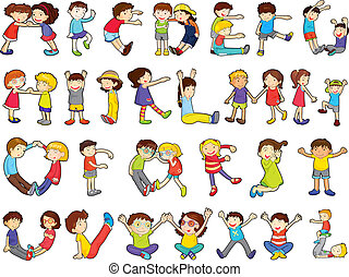 alphabets in kids activities - illustration of alphabets in...