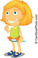 a girl brushing teeth - illustration of a girl brushing...