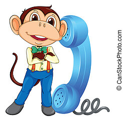 a monkey with receiver - illustration of a monkey with phone...