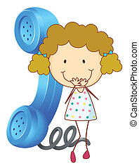 a girl with receiver - illustration of a girl with phone...