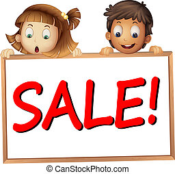 kids showing sale board - illustration of a kids showing...