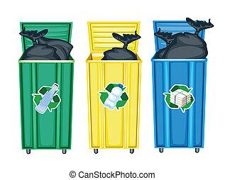 three dustbins - illustration of three dustbins on a white...