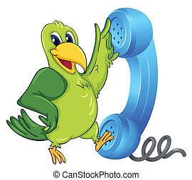 a bird with receiver - illustration of a bird with phone...