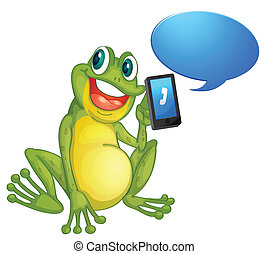 a frog with cell phone