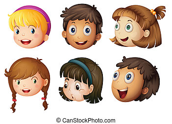 kids faces - illustration of a kids faces on a white...