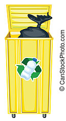 dustbin - illustration of yellow dustbin on a white...