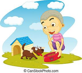 a boy serving food to dog - illustration of a boy serving...