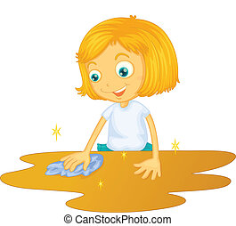 a girl cleaning floor - illustration of a girl cleaning...