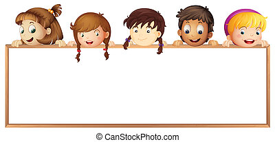 kids showing board - illustration of a kids showing board on...