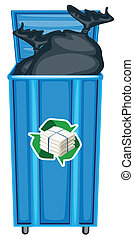 dustbin - illustration of blue dustbin on a white background
