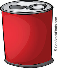 red tin - illustration of red tin on a white background