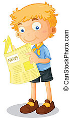 a boy reading news - illustration of a boy reading news on...