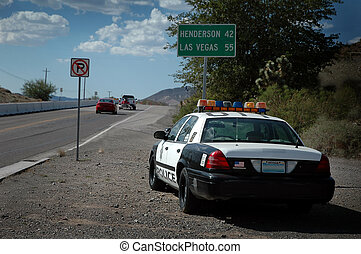 Speed Trap! - A Nevada cop car on the side of the road...