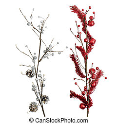 Red and silver Christmas decoration isolated on white...