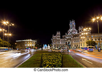 Madrid Spain at night - Streets of Madrid Spain at night