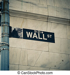 Wall street - Street sign of New York Wall street