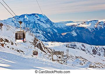 Ski resort in French Alps - Funicular in ski resort, French...