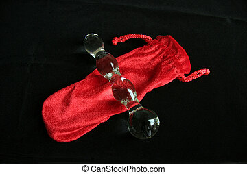 Glass Sex Toy - A glass dildo and velvet pouch