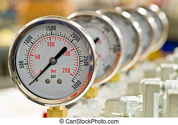 Hydraulic Pressure Gauges installed on Hydraulic Equipment