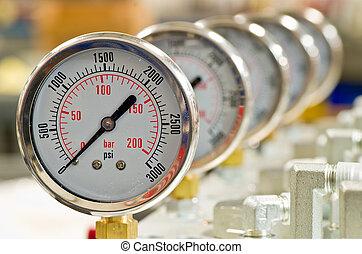 hidráulico, pressão, medida
