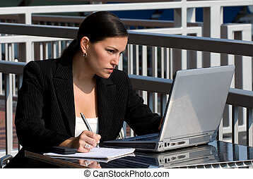 Female business person with computer - A young attractive...