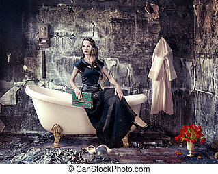 bathroom - vintage woman and bathtub in grunge interior...