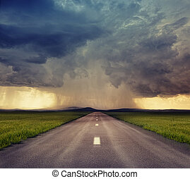 road - the road to storm ( photo compilation. The grain and...