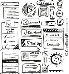Hand drawn vector set of user interface design elements:...