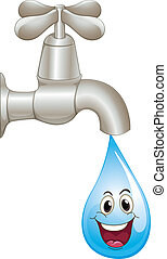 tap and water drop - illustration of a tap and water on a...
